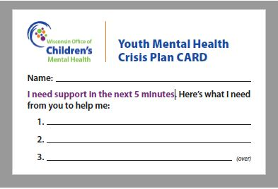 Youth Mental Health Crisis Plan Card